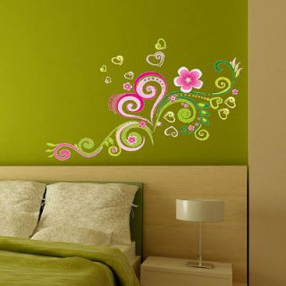 Newly listed B Heart Shaped Flower Vine Wall Sticker Decor Decals