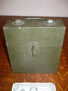 VINTAGE ARMY GREEN WOOD WOODEN MILITARY BOX?? WWI??