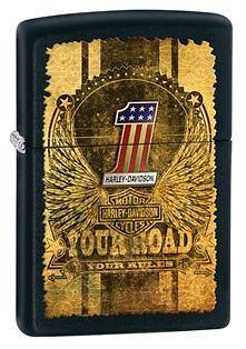 Zippo Harley Davidson Eagle #1 Lighter, Black Matte, Low Ship, 28350