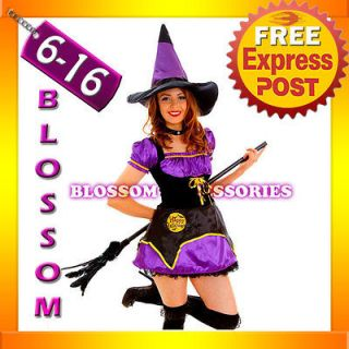 G57 Ladies Midnight Wicked Witch Fancy Dress Scary Halloween Costume