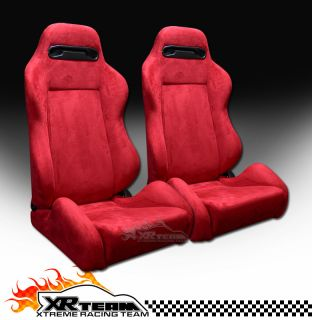 2pc T R Type Simulated Suede Red Sport Racing Bucket Seats+Sliders New