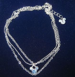 A25 Official Disney Mickey Mouse Blue Crystal Anklet Multi Chain 7