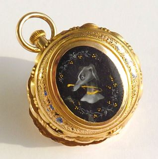 REMONTOIR 18k Solid Gold Pocket Watch ENAMEL Engraved Case Greyhound