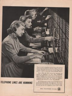 1950 VINTAGE BELL TELEPHONE SYSTEM TELEPHONE LINES ARE HUMMING PRINT