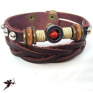 Leather hemp tribal bracelet wristband studed ethnic handcraft artisan