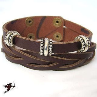 Leather wristband bracelet cast metal ethnic tribal emo handcraft