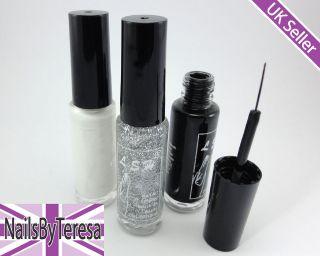 Glass Bottle Nail Art Varnish Polish Liner Brush Pen   UK SELLER FAST