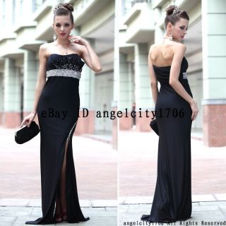 factory price 2013 black trapless evening dress prom ball formal gowns