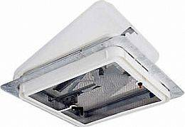 New 14 x 14 RV Trailer Roof Vent With 12 Volt Fan White Lid