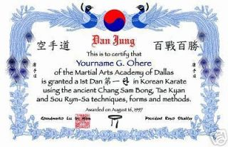 Korean Martial Arts Black Belt Certificate Peacock Blue