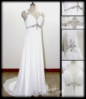 New White/Ivory Chiffon Beach Wedding Dress Bridal Gown Stock Sz 6 8