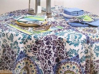 Mosaic Tile FABRIC Patio INDOOR OUTDOOR TABLECLOTH or NAPKINS NIP