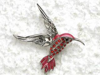 RED RHINESTONE CRYSTAL HUMMINGBIRD PIN BROOCH C896