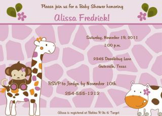 24 Cocalo Jacana Animals Baby Shower Invitations