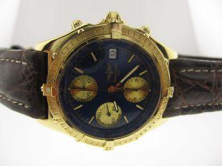 Breitling Chronomat Blue Dial Gold Index Chronograph 18K Yellow Gold