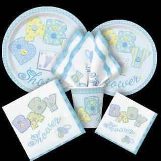 BOY BABY SHOWER PARTY BLUE STITCHING ALL ITEMS LISTED PLATES NAPKINS