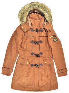 Coogi Womens Long Camel Wool Pea Coat Size S M L XL $135