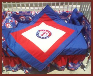 New Crib Bedding Set m/w TEXAS RANGERS baseball fabric