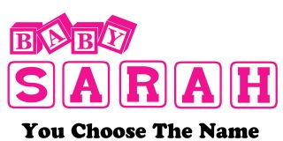 Personalized Name BABY BLOCKS Kids wall art vinyl decal Removable