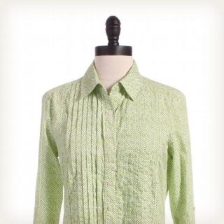 BANANA REPUBLIC OUTLET Green Pleated Bib Collared Top Sz S Print