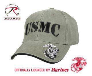 HAT MARINES LICENSED USMC VINTAGE STYLE BASEBALL CAP OLIVE DRAB ROTHCO