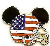 Disney * MICKEY EARS   USA FLAG FOOTBALL HELMET * Trading Pin