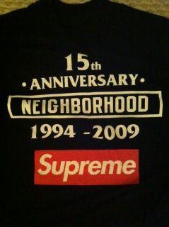 Supreme Box Logo Neighborhood 15th Anniversary Black Tee Shirt Moss