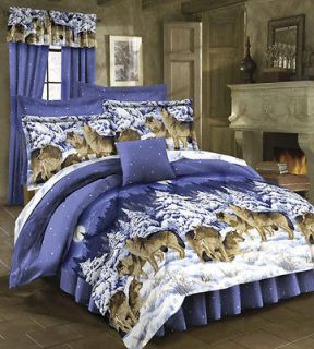 Rustic Lodge WILD WOLF WOLVES Cabin Queen Size Bed 4pc Comforter Shams