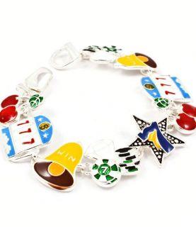 Bracelet Slot Machine Cherries Bells Poker Chip Lucky Colorful New