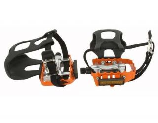 Alloy Pedals W/Toe Clips 9/16 Orange.BMX FIXIE bike pedal.