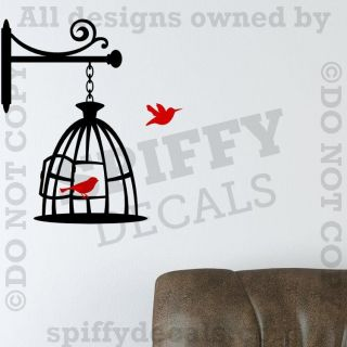 BIRD CAGE Vinyl Wall Decal Design Family Room Living Room Birds Home
