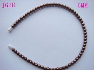 1pc 6mm Coffee Faux Pearl Korean Women Cute Beaded Headband Hairband
