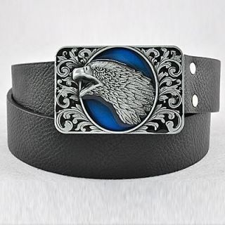 Blue Single Screaming Eagle Head Men Buckle Genuine Leather Belt
