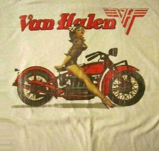 VAN HALEN cd lgo BIKER PIN UP GIRL Official SHIRT XL new