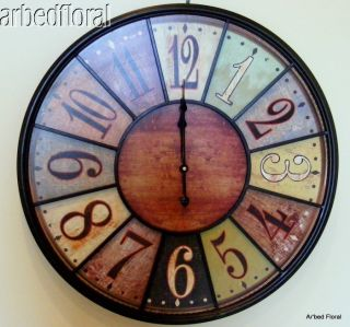 24 Wooden Large Tuscan Wall Clock Rich Coloring Number Iron Bistro