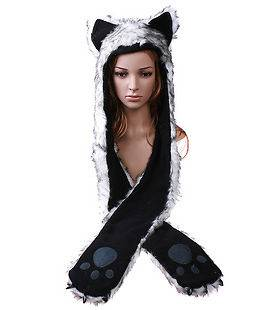 Wolf Animal Hood Hoodie Hat Faux Fur 3 in 1 Function White Fuzzy Warm