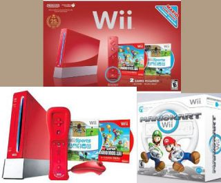 New Nintendo Wii Limited Red Console+Super Bros+Mario Kart&Wheel 2