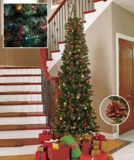 New 7 Ft Slim Pre Lit Christmas Tree w/ 200 Multi Colored Lights & 18