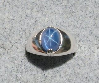 MENS LINDE LINDY TRANSPARENT TWILIGHT BLUE STAR SAPPHIRE CREATED SS