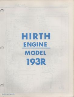 SNO JET HIRTH MODEL 193R ENGINE PARTS MANUAL P/N 209294