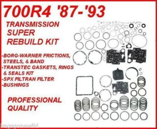 700R4 TRANSMISSION SUPER REBUILD KIT WITH BORG WARNER FRICTIONS & BAND