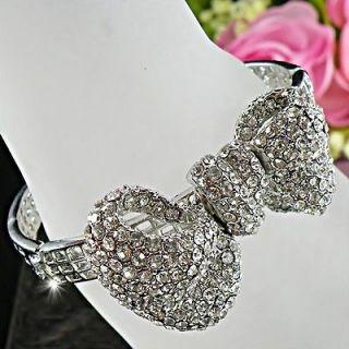 Bow w/ Clear Swarovski Crystals Small Size Bangle Bracelet BA311