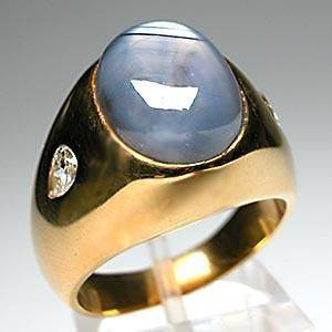 Vintage Mens Natural Blue Star Sapphire & Diamond Ring Solid 18K Gold