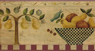 Country Vintage Fruit Bowl Kitchen Pear Wall paper Border Carol Endres