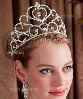 Bridal Wedding Pageant Heart Sparkling Tall Tiara use Swarovski