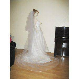 Royal 2 Tier Crystal Pearl Wedding Bridal Veil White Diamond Ivory