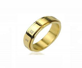 Steel Gold IP Roman Numerals Center Spinner Ring Clearance R201