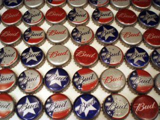 NEW 100 BUD BUDWEISER STARS STRIPES RED WHITE BLUE BEER BOTTLE CAPS