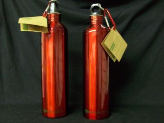 WATER BOTTLES 2 ECOUSABLE LARGE 33oz STAINLESS STEEL RED ECO FRIENDLY