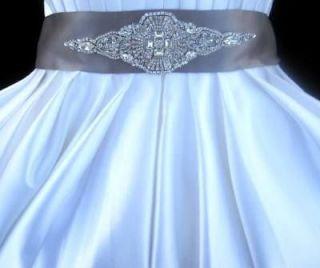 Bridal Wedding Dress Gown Beaded Jeweled Crystal Belt Embellished Sash